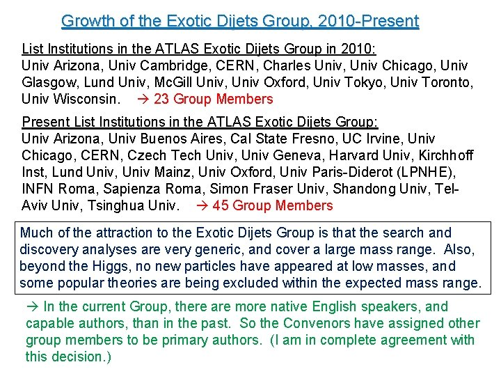 Growth of the Exotic Dijets Group, 2010 -Present List Institutions in the ATLAS Exotic