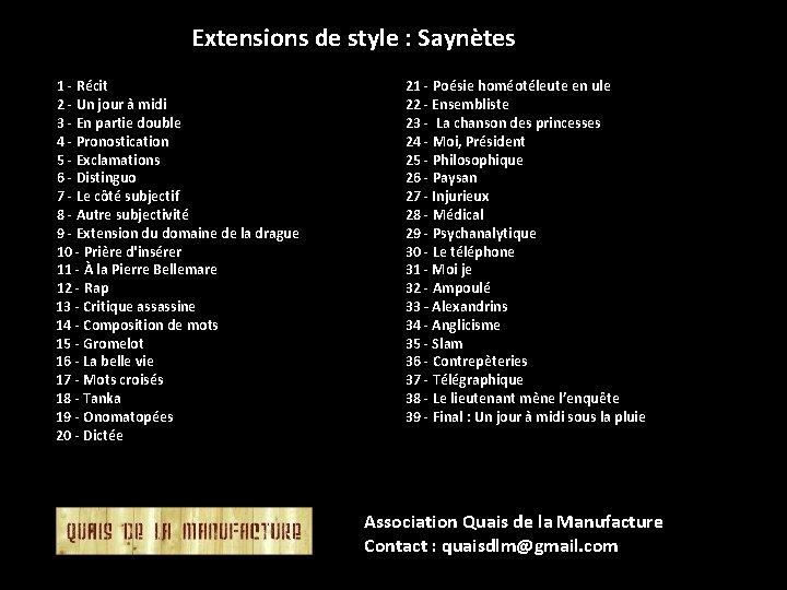 Extensions de style : Saynètes 1 - Récit 2 - Un jour à midi