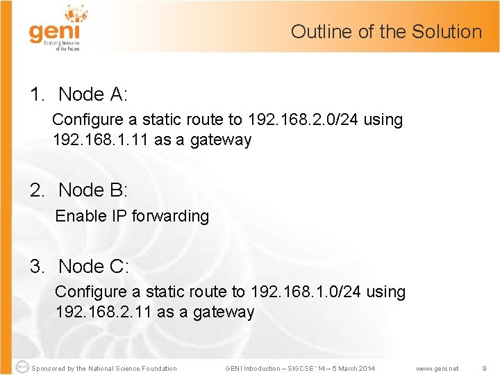 Outline of the Solution 1. Node A: Configure a static route to 192. 168.