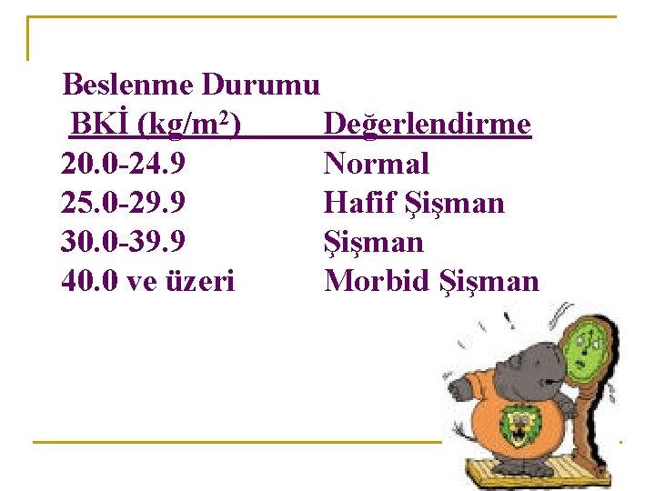 Beslenme Durumu BKİ (kg/m 2) Değerlendirme 20. 0 -24. 9 Normal 25. 0 -29.