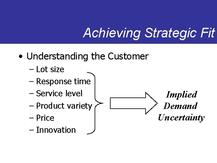 Achieving Strategic Fit • Understanding the Customer – Lot size – Response time –