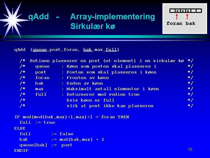q. Add - Array-implementering Sirkulær kø x x x foran bak q. Add (queue,
