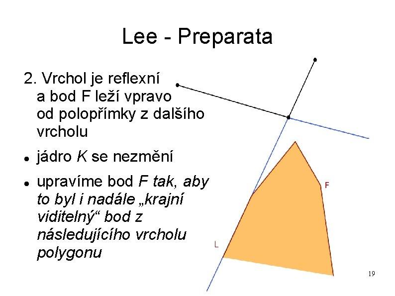 Lee - Preparata 2. Vrchol je reflexní a bod F leží vpravo od polopřímky