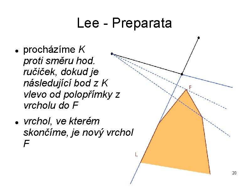 Lee - Preparata procházíme K proti směru hod. ručiček, dokud je následující bod z