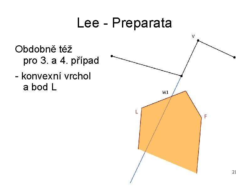 Lee - Preparata Obdobně též pro 3. a 4. případ - konvexní vrchol a