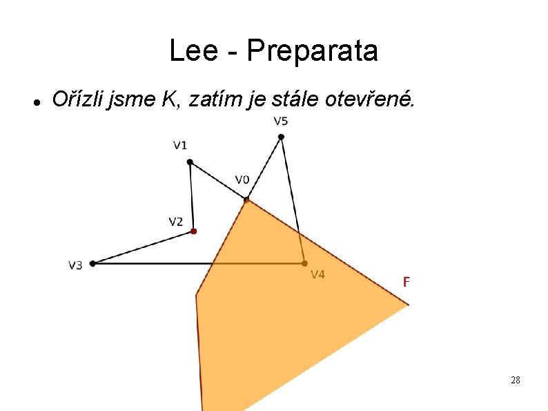 Lee - Preparata Ořízli jsme K, zatím je stále otevřené. 28
