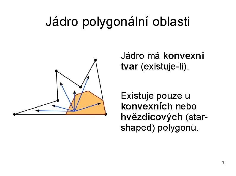 Jádro polygonální oblasti Jádro má konvexní tvar (existuje-li). Existuje pouze u konvexních nebo hvězdicových