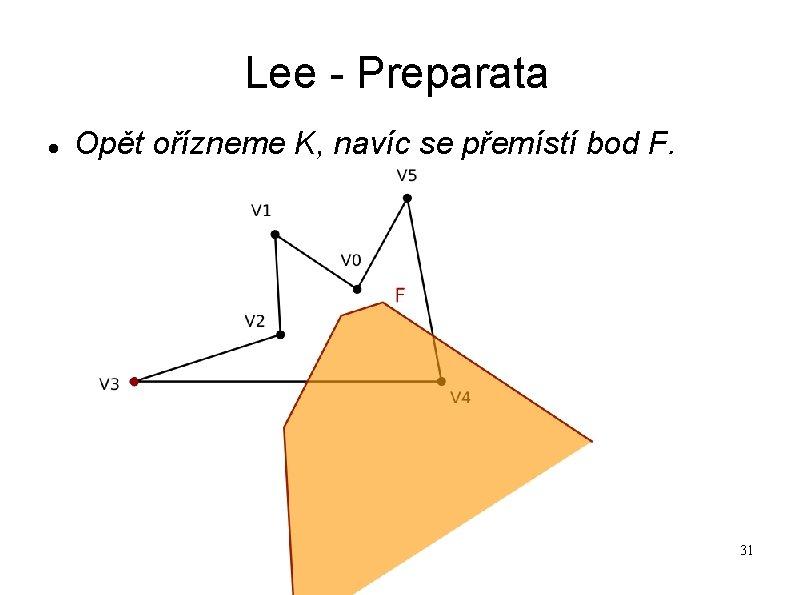 Lee - Preparata Opět ořízneme K, navíc se přemístí bod F. 31