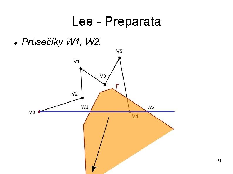Lee - Preparata Průsečíky W 1, W 2. 34