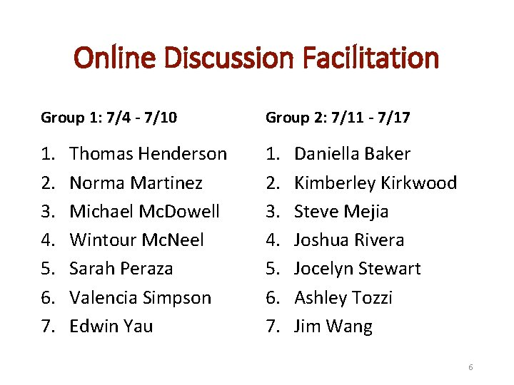 Online Discussion Facilitation Group 1: 7/4 - 7/10 Group 2: 7/11 - 7/17 1.