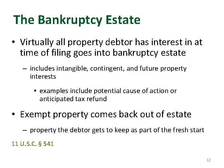 The Bankruptcy Estate • Virtually all property debtor has interest in at time of