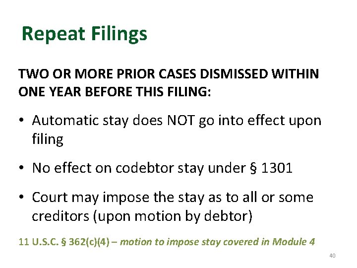 Repeat Filings TWO OR MORE PRIOR CASES DISMISSED WITHIN ONE YEAR BEFORE THIS FILING: