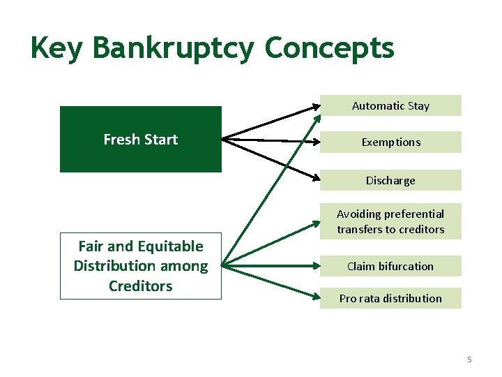Key Bankruptcy Concepts Automatic Stay Fresh Start Exemptions Discharge Fair and Equitable Distribution among
