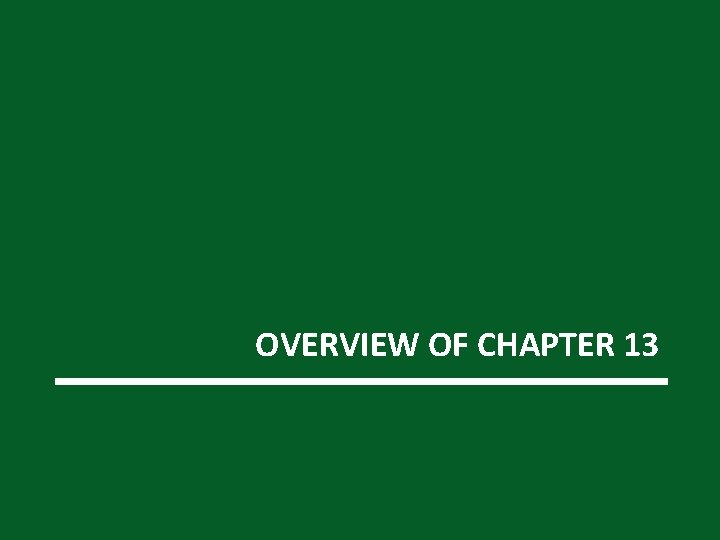 OVERVIEW OF CHAPTER 13