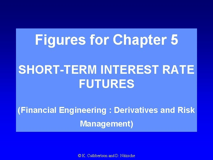 Figures for Chapter 5 SHORT-TERM INTEREST RATE FUTURES (Financial Engineering : Derivatives and Risk
