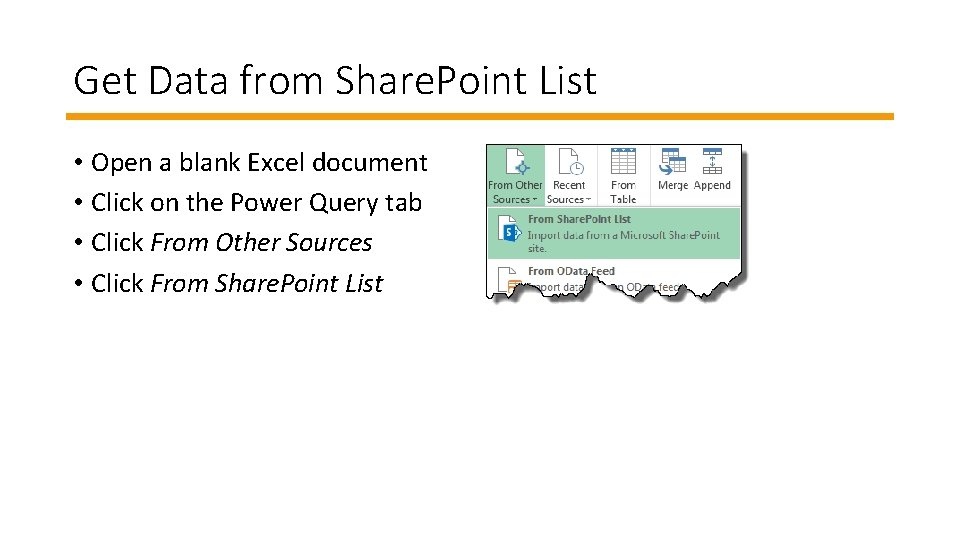Get Data from Share. Point List • Open a blank Excel document • Click