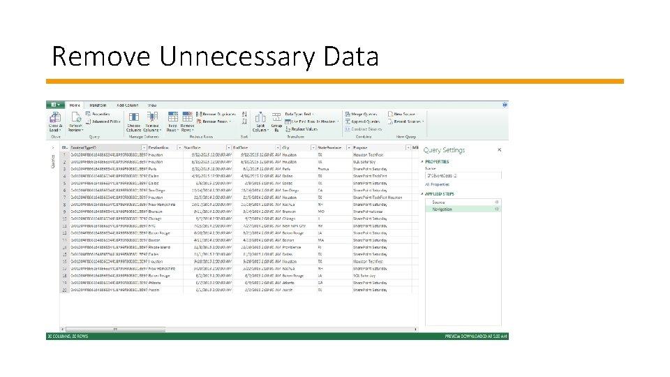 Remove Unnecessary Data