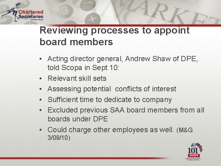 Reviewing processes to appoint board members • Acting director general, Andrew Shaw of DPE,