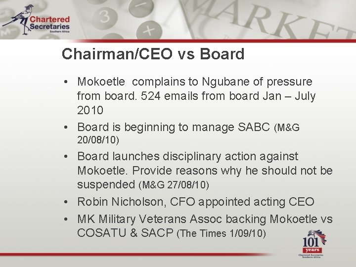 Chairman/CEO vs Board • Mokoetle complains to Ngubane of pressure from board. 524 emails