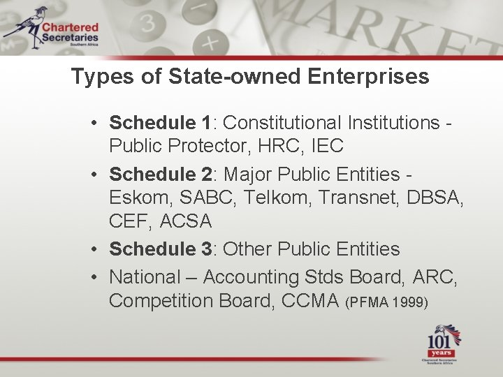 Types of State-owned Enterprises • Schedule 1: Constitutional Institutions Public Protector, HRC, IEC •