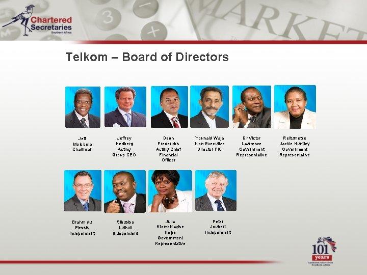 Telkom – Board of Directors Jeff Molobela Chairman Jeffrey Hedberg Acting Group CEO Deon