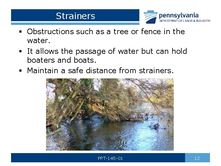 Strainers § Obstructions such as a tree or fence in the water. § It