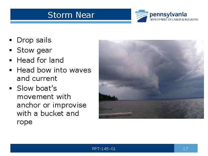 Storm Near Drop sails Stow gear Head for land Head bow into waves and