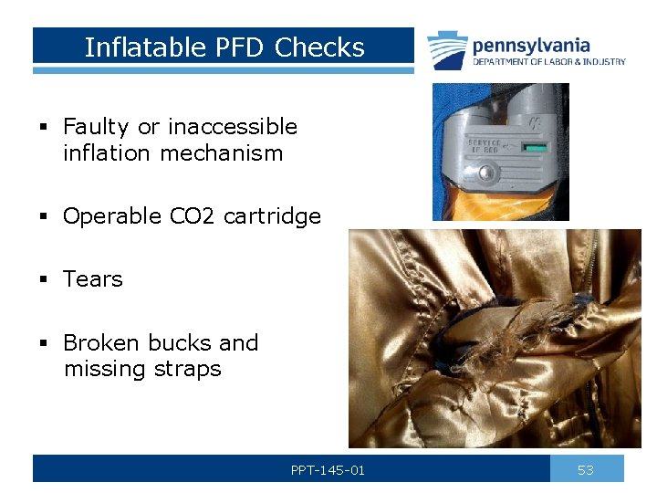 Inflatable PFD Checks § Faulty or inaccessible inflation mechanism § Operable CO 2 cartridge