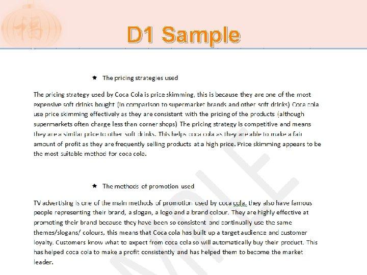 D 1 Sample