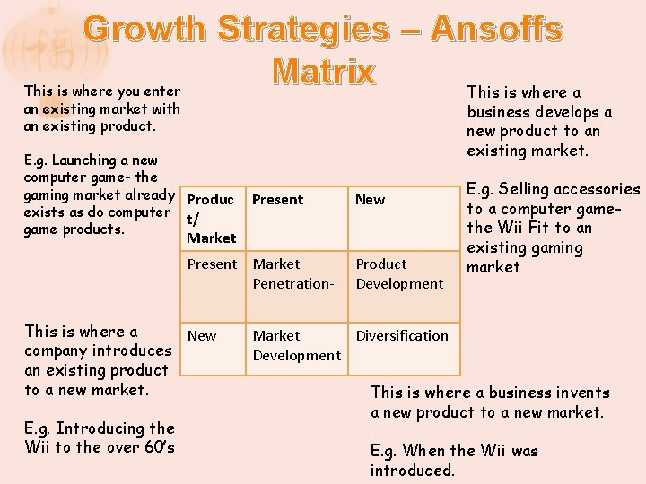 Growth Strategies – Ansoffs Matrix This is where a This is where you enter