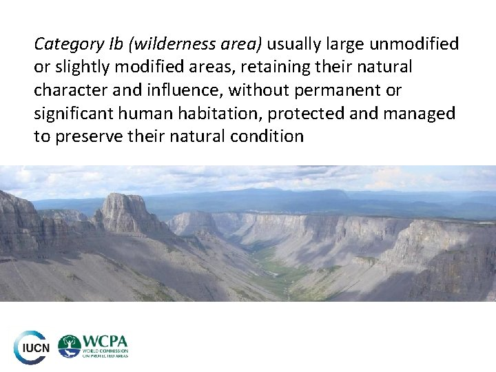 Category Ib (wilderness area) usually large unmodified or slightly modified areas, retaining their natural
