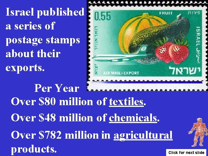 Israel published a series of postage stamps about their exports. Per Year Over $80