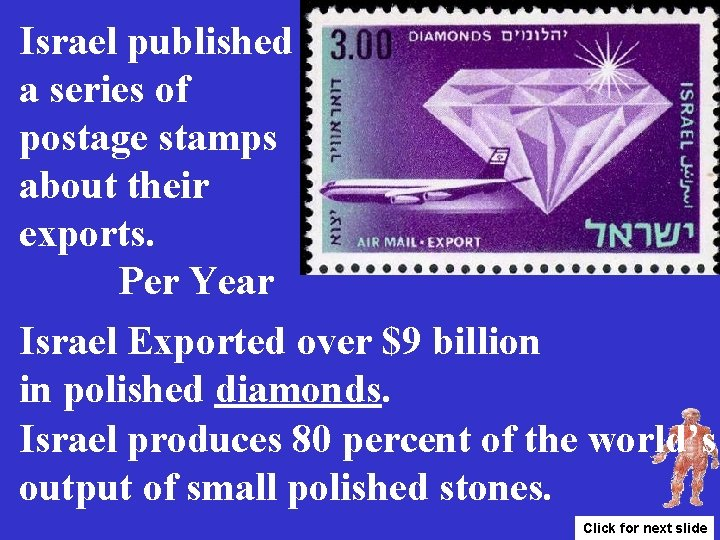 Israel published a series of postage stamps about their exports. Per Year Israel Exported