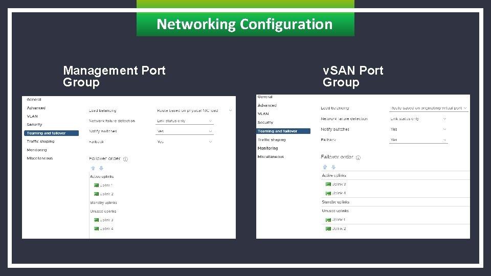 Networking Configuration Management Port Group v. SAN Port Group