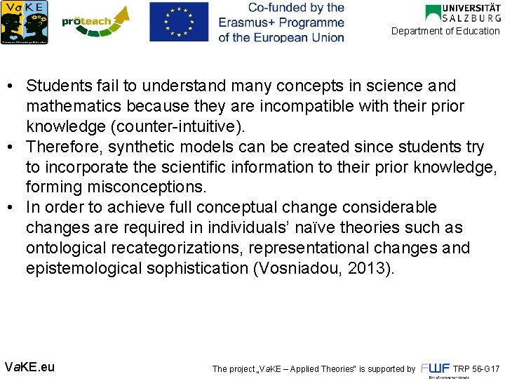 Department of Education • Students fail to understand many concepts in science and mathematics