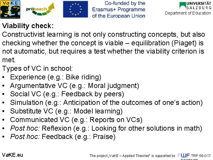 Department of Education Viability check: Constructivist learning is not only constructing concepts, but also