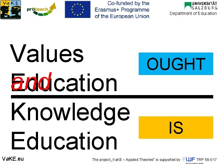 Department of Education Values and Education Knowledge Education Va. KE. eu OUGHT IS The
