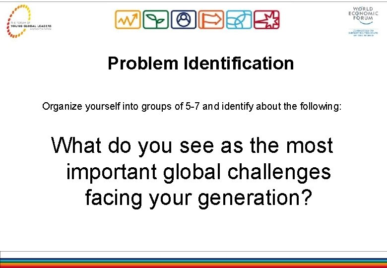 Problem Identification Organize yourself into groups of 5 -7 and identify about the following: