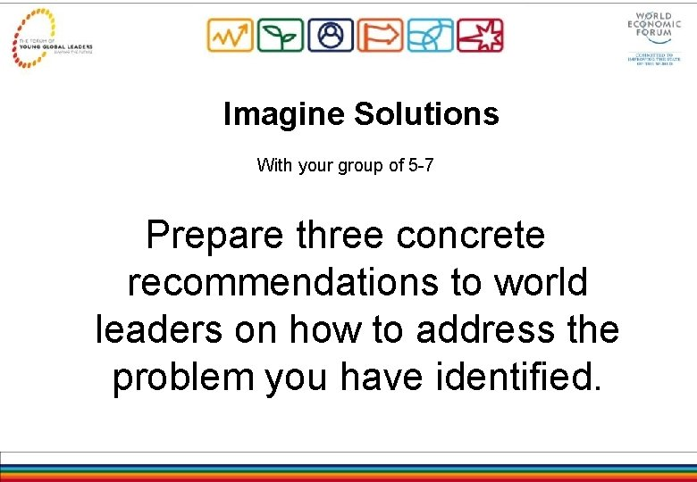 Imagine Solutions With your group of 5 -7 Prepare three concrete recommendations to world