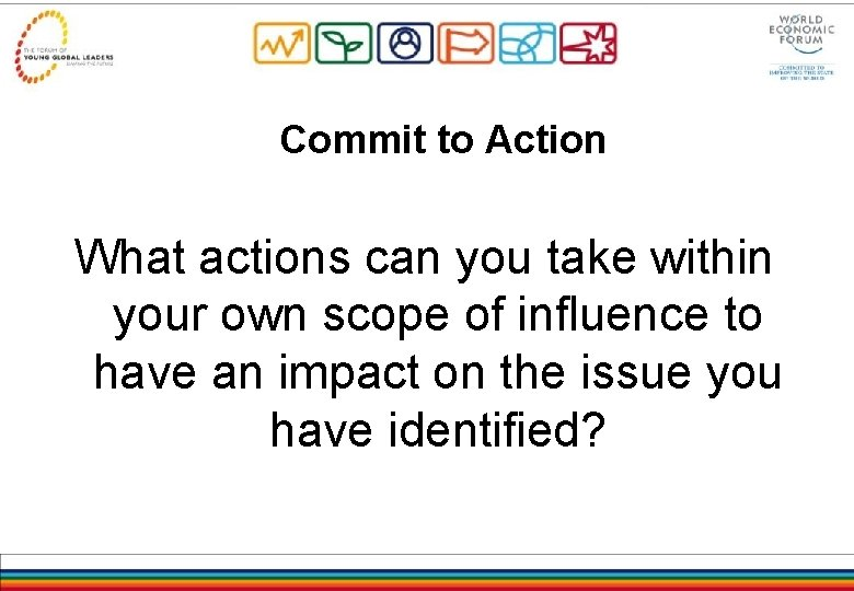 Commit to Action What actions can you take within your own scope of influence