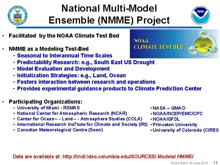 National Multi-Model Ensemble (NMME) Project • Facilitated by the NOAA Climate Test Bed •