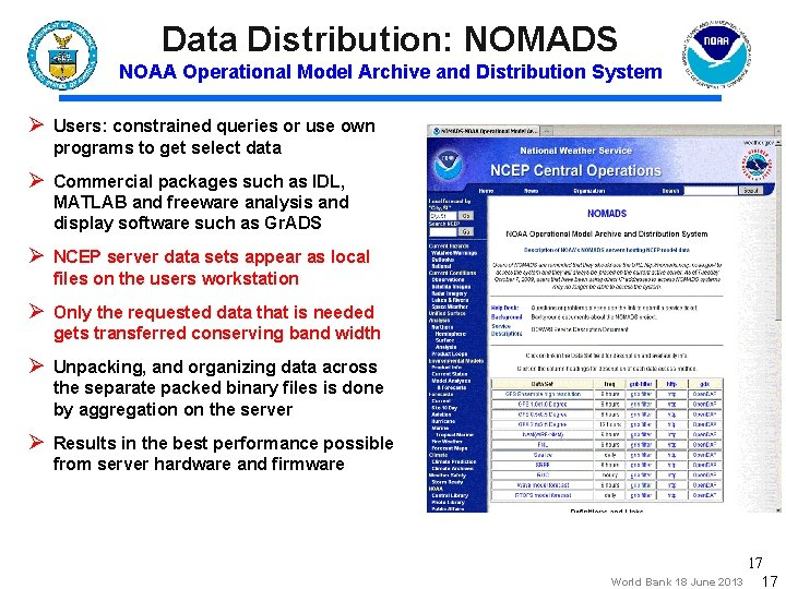 Data Distribution: NOMADS NOAA Operational Model Archive and Distribution System Ø Users: constrained queries