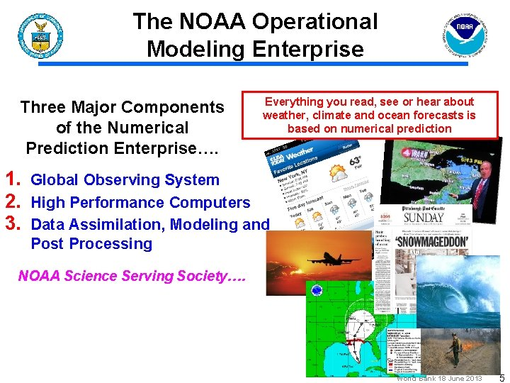 The NOAA Operational Modeling Enterprise Three Major Components of the Numerical Prediction Enterprise…. Everything