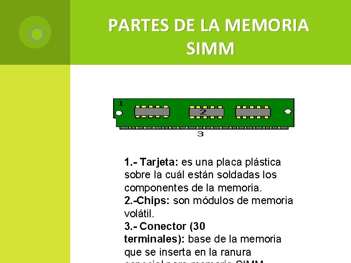 PARTES DE LA MEMORIA SIMM 1. - Tarjeta: es una placa plástica sobre la