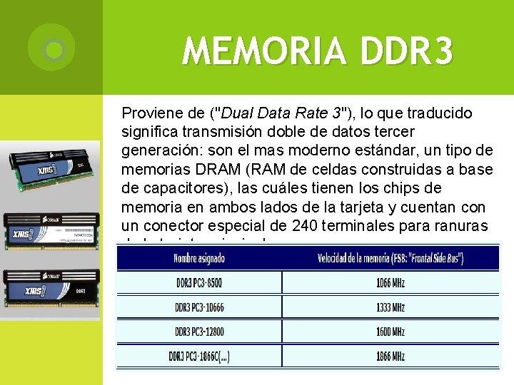 """MEMORIA DDR 3 Proviene de (""""Dual Data Rate 3""""), lo que traducido significa transmisión"""