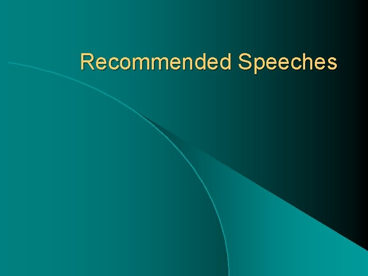 Recommended Speeches