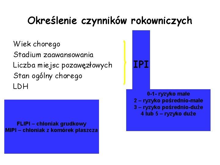 Określenie czynników rokowniczych Wiek chorego Stadium zaawansowania Liczba miejsc pozawęzłowych Stan ogólny chorego LDH