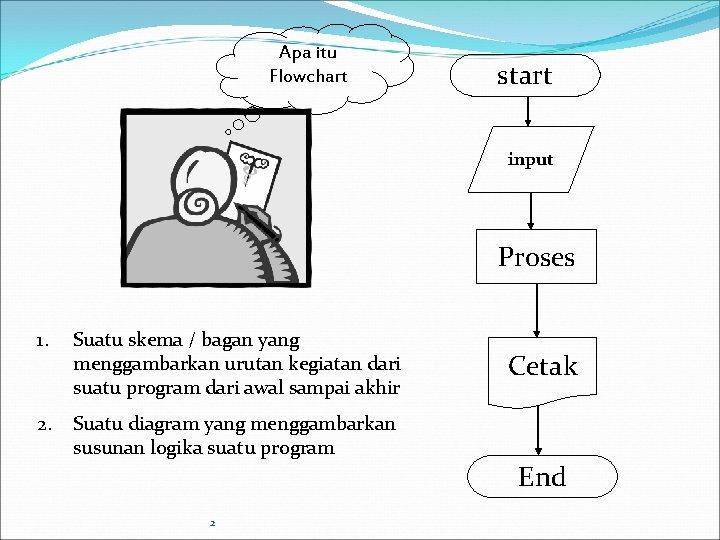 Apa itu Flowchart start input Proses 1. Suatu skema / bagan yang menggambarkan urutan