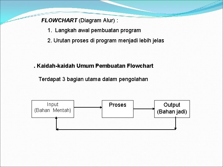 FLOWCHART (Diagram Alur) : 1. Langkah awal pembuatan program 2. Urutan proses di program