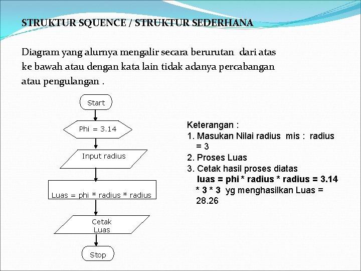 STRUKTUR SQUENCE / STRUKTUR SEDERHANA Diagram yang alurnya mengalir secara berurutan dari atas ke
